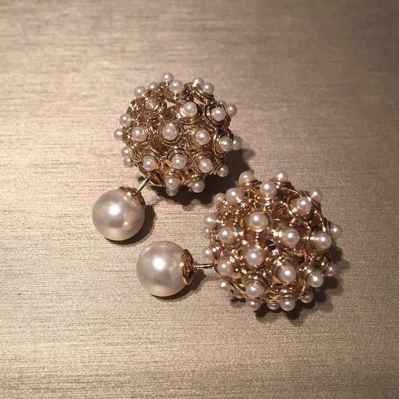 Reversible Ball Ball Earrings Hollow Pearl S925 Silver Stud Earrings NHWK206091