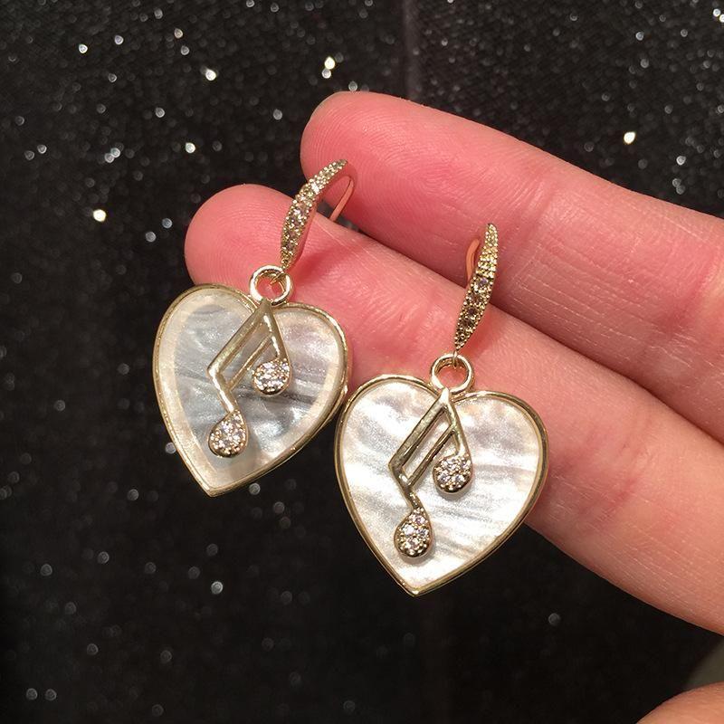 Musical Note Earrings Female Shell White Fritillary Earrings NHWK206102