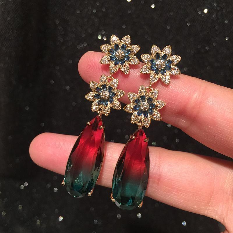 Golden Flower Earrings Modified Face S925 Silver Needle Long Tassel Big Water Drop Gradient Color Tourmaline Earrings NHWK206105