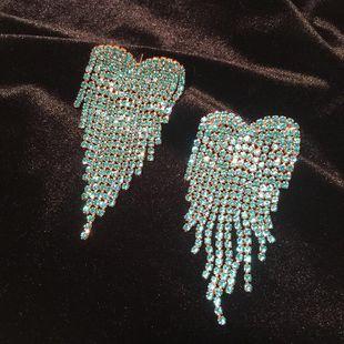 Love Earrings Light Blue Large Heart Tassel Spike Exaggerated Large Earrings NHWK206109's discount tags
