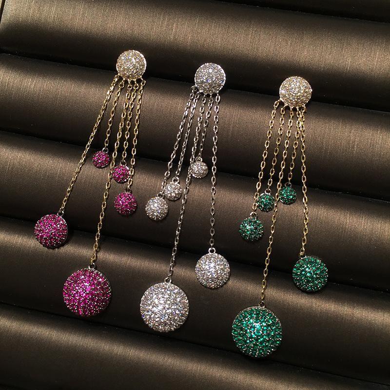 Colorful ball ball earrings S925 silver needle luxury micro inlaid zircon long fringe earrings NHWK206115