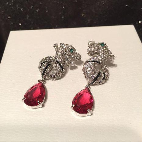 Leopard Earrings Light Luxury Elegant Earrings S925 Silver Needle Drop Earrings NHWK206120's discount tags