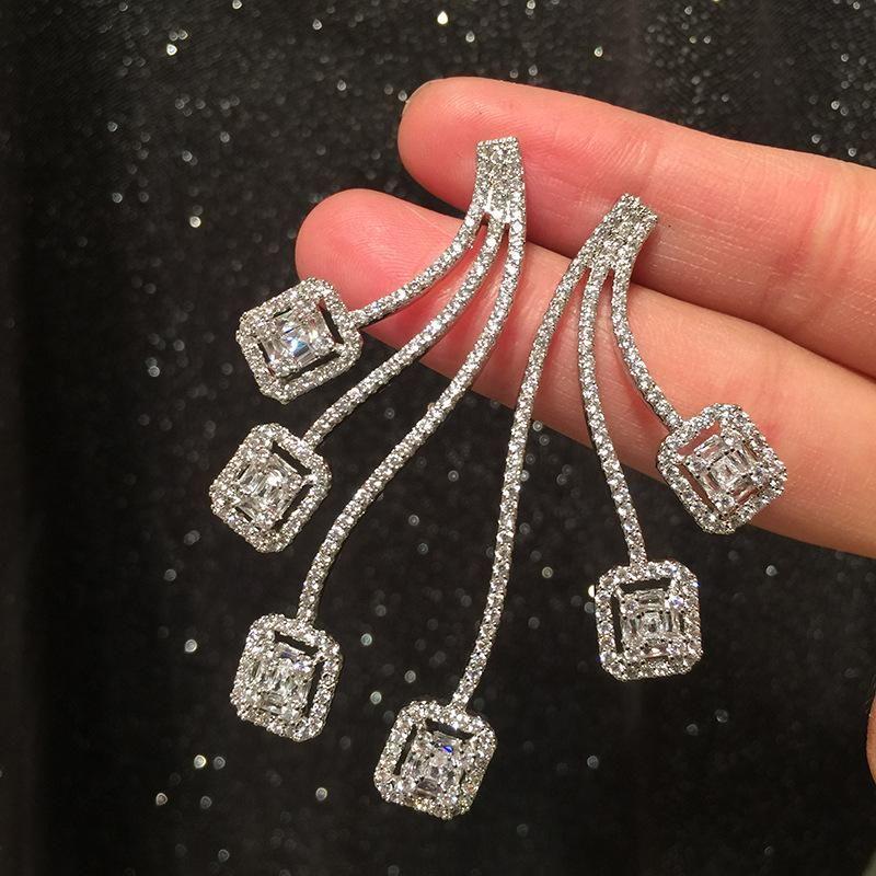 Wave Earrings Women's Long Curved Square S925 Silver Pin Elegant Earrings NHWK206123