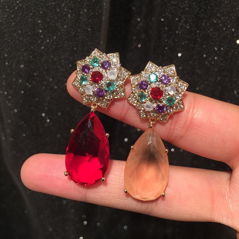 Red Water Drop Earrings Luxury Elegant S925 Silver Pin Colored Camellia Champagne Large Earrings NHWK206124
