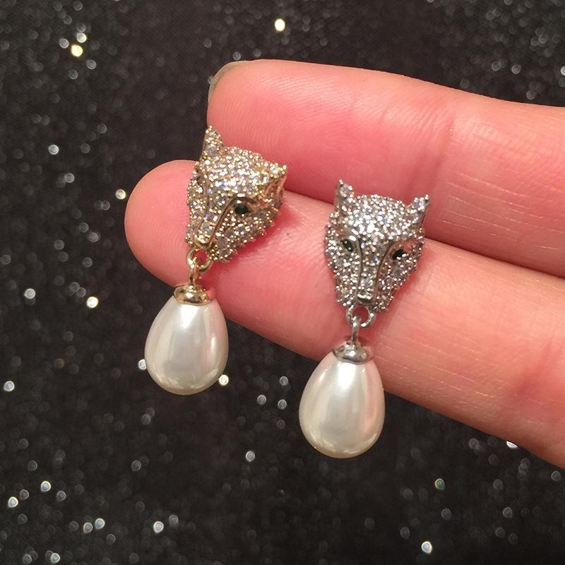 Leopard head earrings female S925 silver needle light luxury micro inlaid pearl tassel earrings NHWK206125