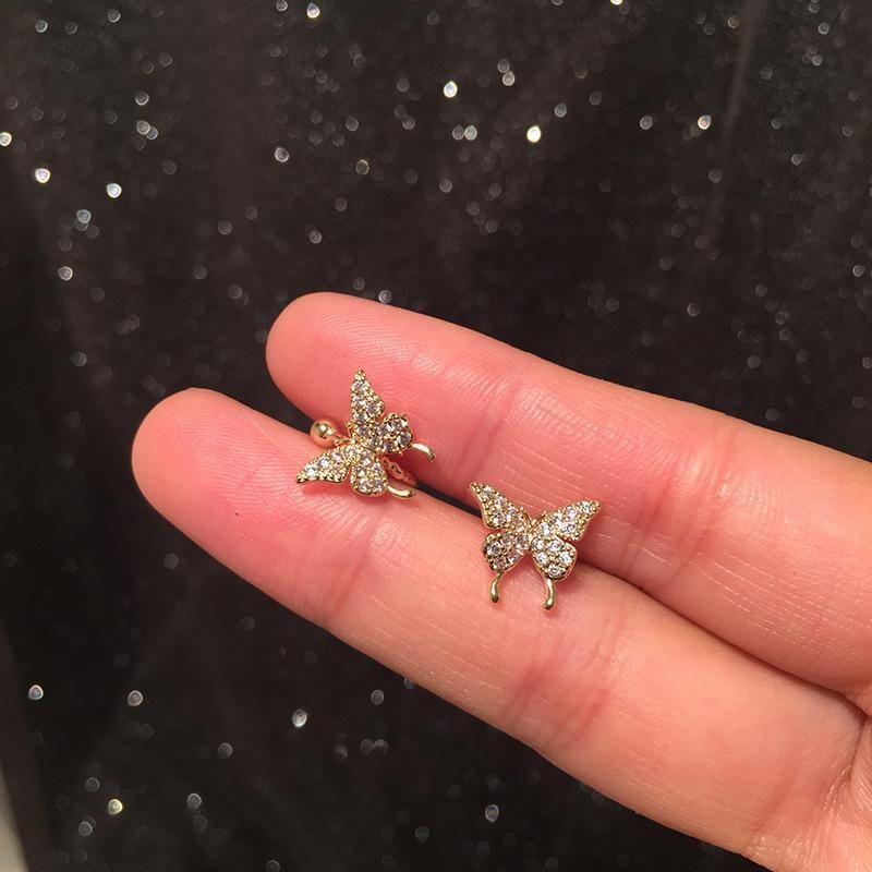 Butterfly Earrings S925 Silver Needle Ear Bone Clip Earrings Integrated Simple Earrings NHWK206128