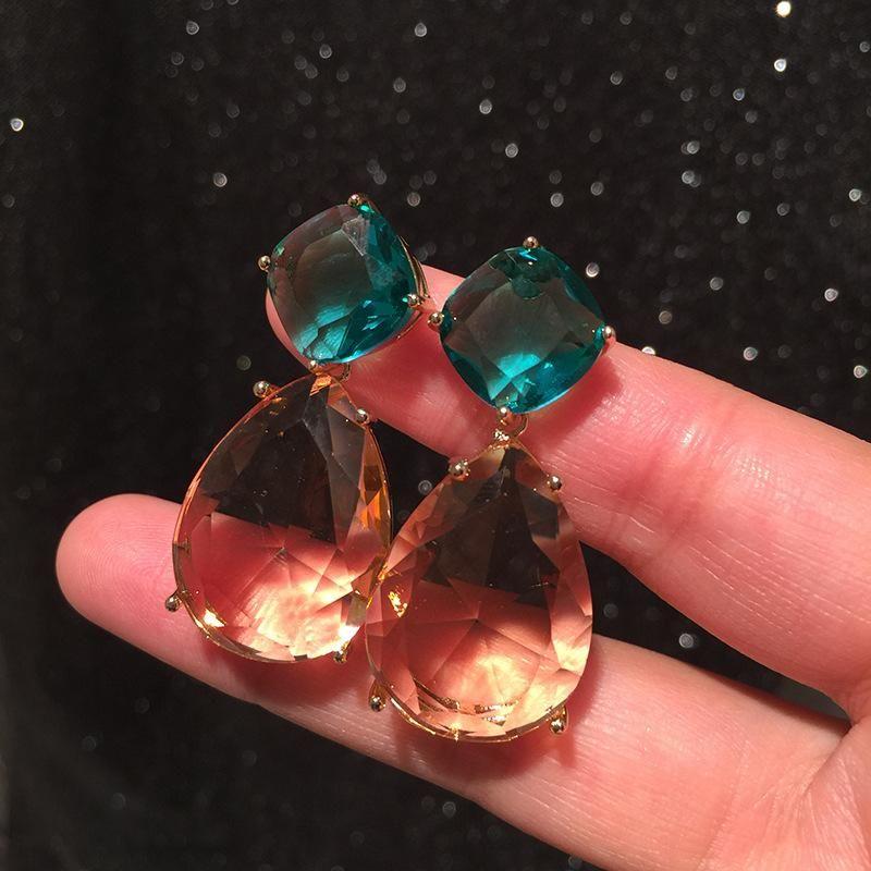 Green water drop earrings female S925 silver pin champagne vintage earrings NHWK206133