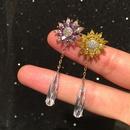 Small flower earrings female elegant luxury micro inlaid zircon long fringed water drop earrings NHWK206135