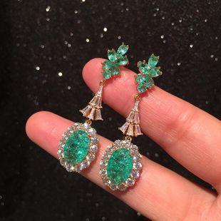 Green Earrings Vintage Luxury Micro Inlaid Zircon Elegant S925 Silver Pin Earrings NHWK206136's discount tags