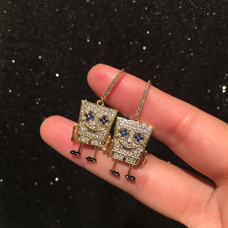 Spongebob earrings small fresh creative cartoon cute new earrings women NHWK206138