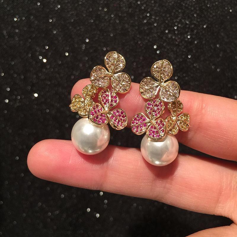 Colorful Flower Earrings S925 Silver Needle Luxury Leaf Pearl Earrings NHWK206140