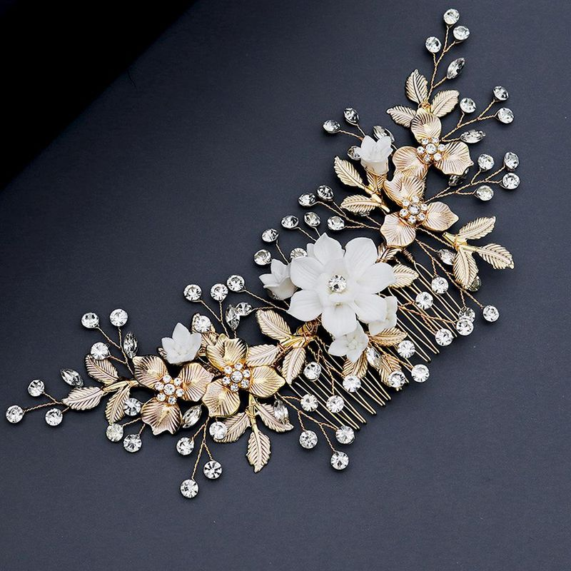 New Flowers Handmade Hair Comb Thin Alloy Hair Accessories Bride's Veil Tray Hair Insertion Comb NHHS206144