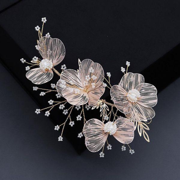 Korean New Wedding Jewelry Bridal Hair Accessories Gold Silk Flower Hair Band Wholesale NHHS206145
