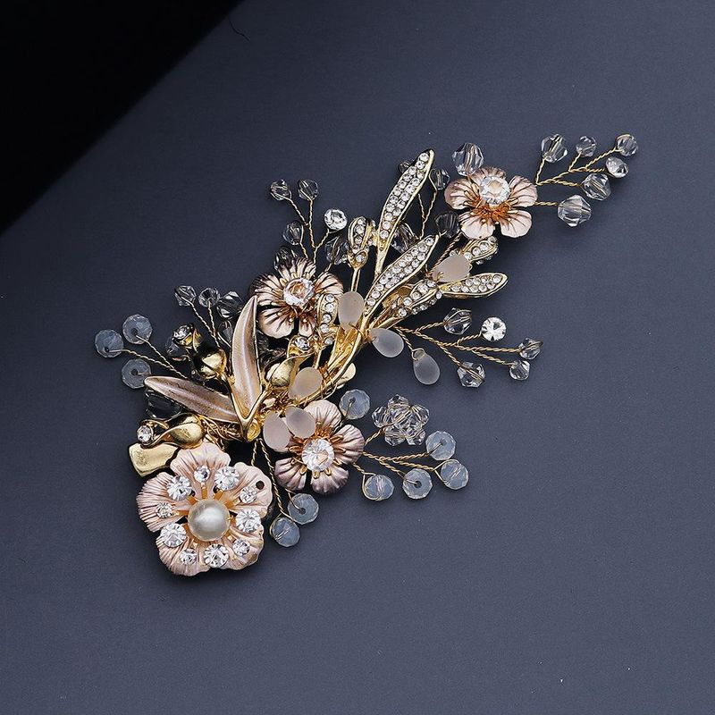 Frosted Crystal Pearl Edge Clip Vintage Court Wind Golden Flower Hair Clip Bride Hairpin Wholesale NHHS206150