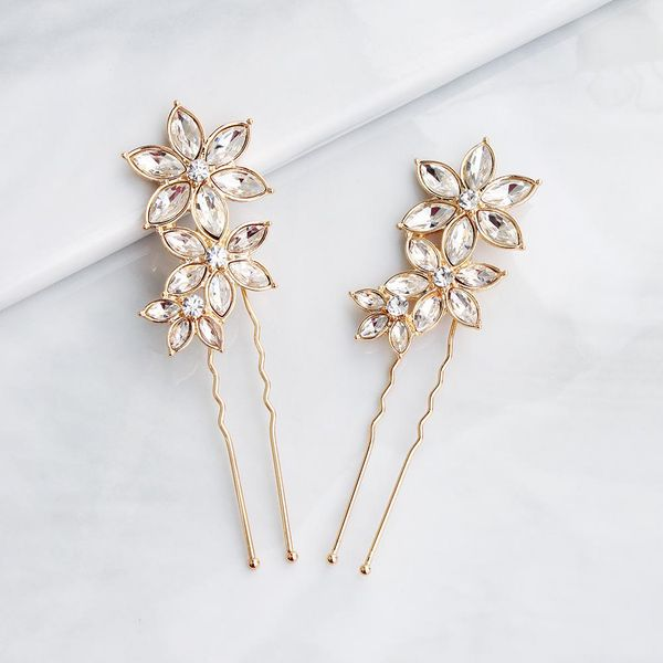 Korean simple hair accessories rhinestone alloy flowers U-shaped bridal wedding hair headdress NHHS206151