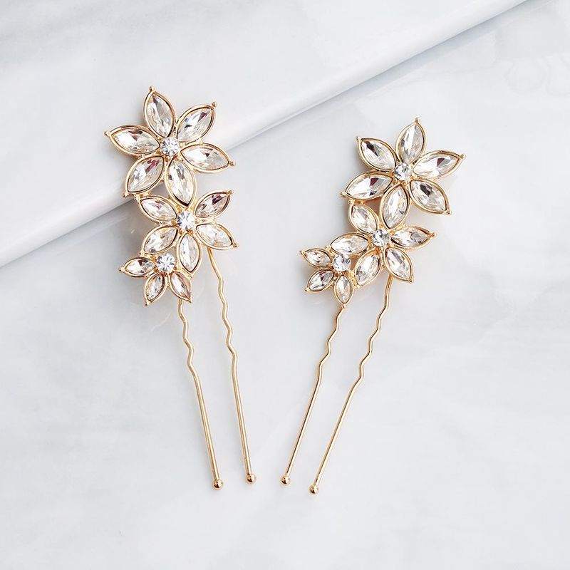 Korean simple hair accessories rhinestone alloy flowers U-shaped bridal wedding hair headdress NHHS206151