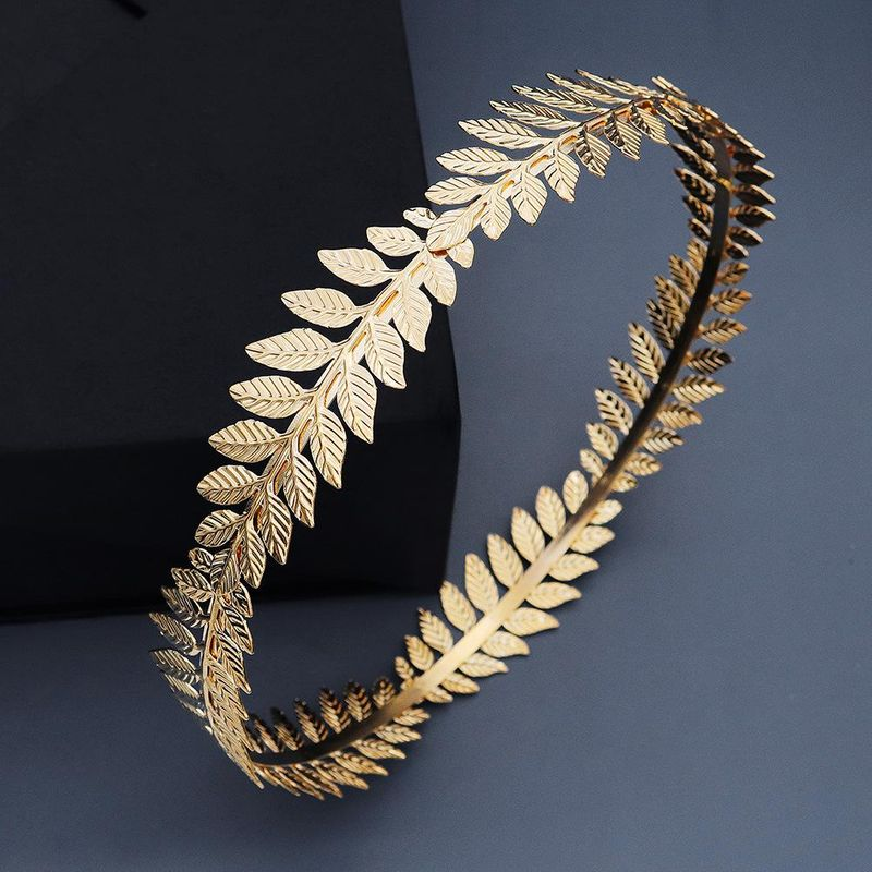Round Hair Band Baroque Vintage Golden Olive Branch Crown Bridal Sen Wedding Head Ornament NHHS206154