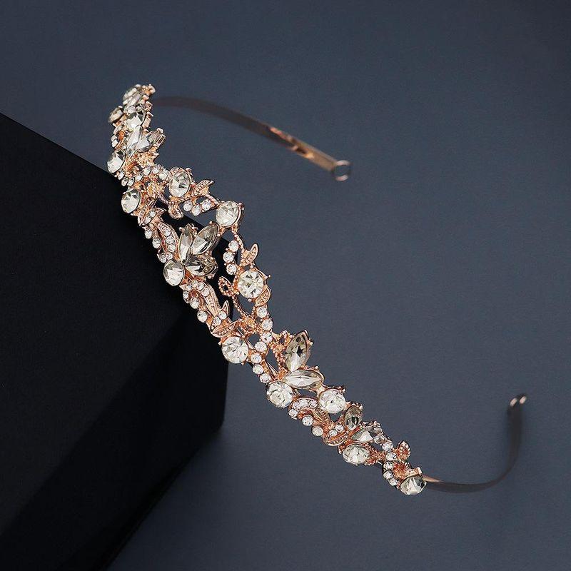 Simple hair hoop water drop diamond crown retro palace wind branch vine crown wedding dress head jewelry NHHS206155