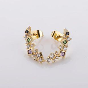 18K Gold Micro Inlaid Zircon Stud Earrings Female Wild Contrast Stitching Geometric Simple Earrings NHMB206178's discount tags