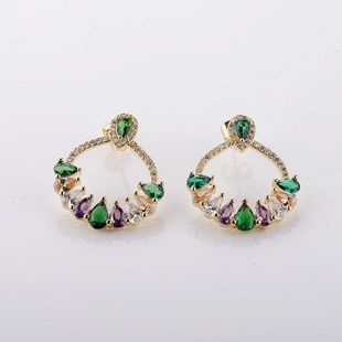New Trend Earrings Micro-Set Inlaid Colorful Zircon Drop Earrings NHMB206179's discount tags