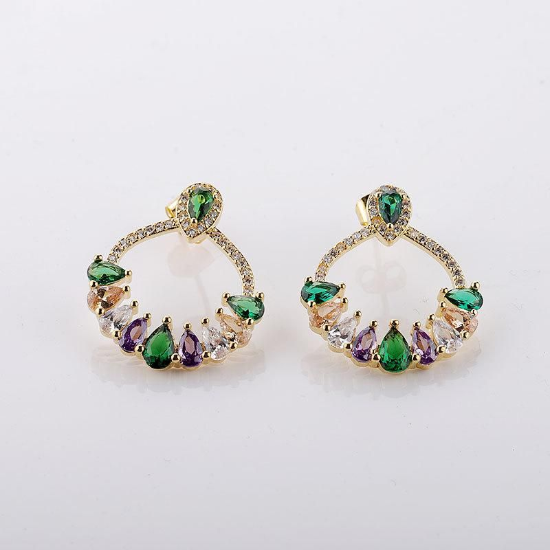 New Trend Earrings Micro-Set Inlaid Colorful Zircon Drop Earrings NHMB206179