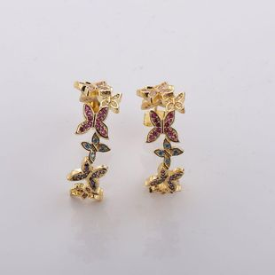 18K Gold Micro Inlaid Zircon Earrings Female Wild Butterfly Korean Fashion Earrings Wholesale NHMB206180's discount tags