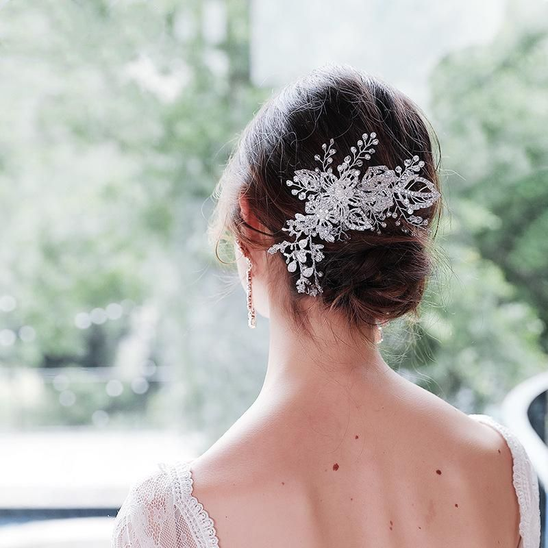 Exaggerated bridal headdress alloy flowers handmade diamond hairpin wholesale NHHS206148
