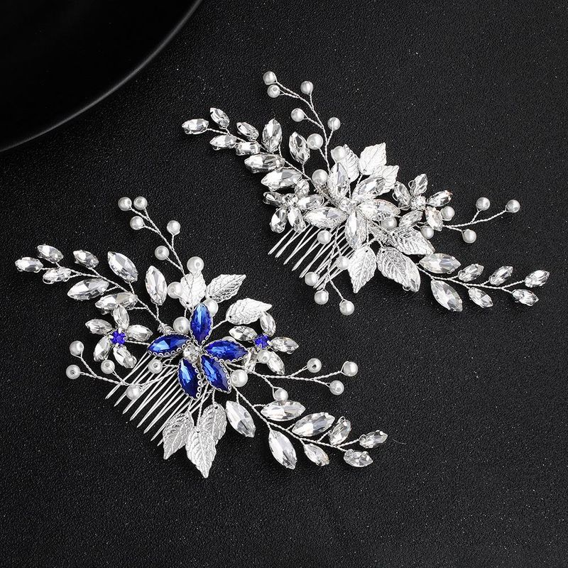New bridal jewelry simple hair comb handmade pearl blue diamond inserted comb banquet headwear accessories NHHS206143