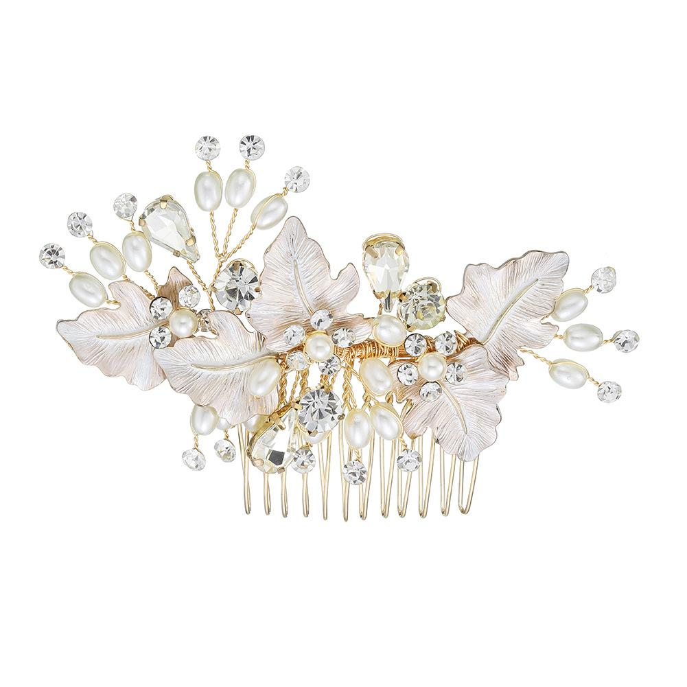 New wedding plate hair jewelry handmade pearl rhinestone hair comb bridal hair extension NHHS206146