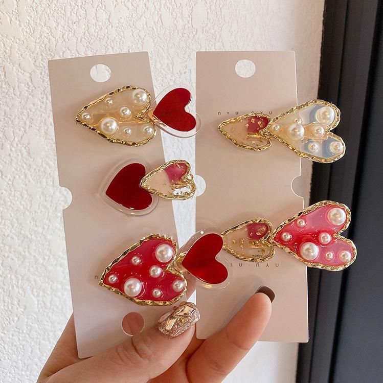 New fashion red love pearl hair clip sweet clip female Korean cheap hair accessories wholesale NHOF206009