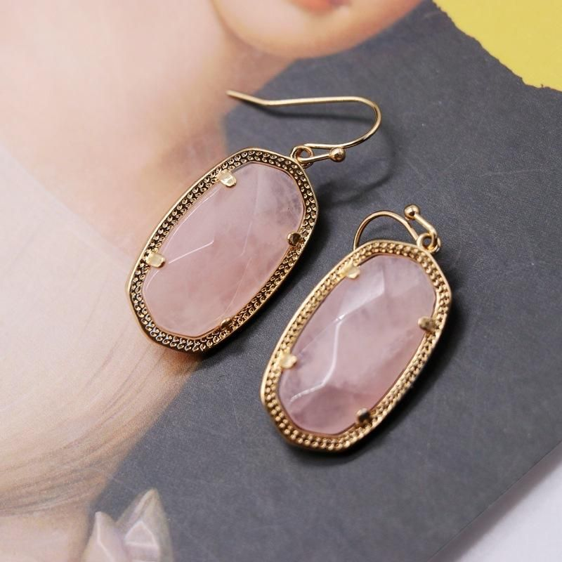 Copper Claw Inlay Pink Crystal Pendant Earrings Flower Pattern Pendant Earrings Oval Pendant Earrings NHOM206070