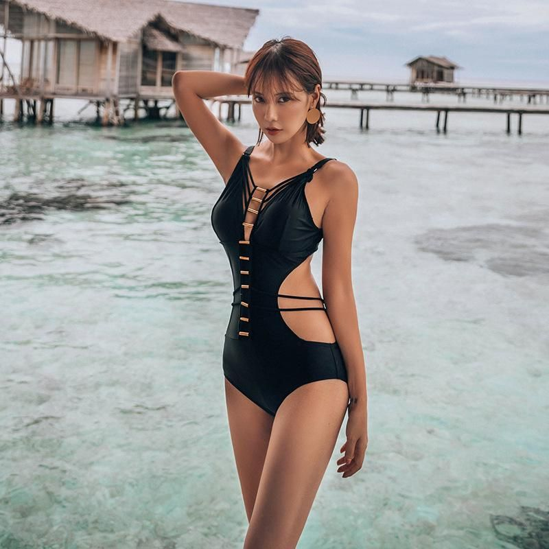 New fashionable black backless sexy triangle one-piece swimsuit women NHHL199980