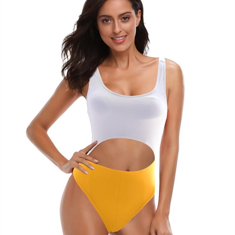 New swimwear colorblock sexy wide shoulder strap ladies one-piece bikini swimsuit wholesales fashion NHHL199996