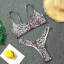 New split swimsuit animal leopard print conservative vest small chest bikini hot spring swimsuit NHHL199999