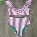 New hot sale striped printed ladies flash high waist bikini swimsuit bikini NHHL200006