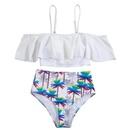 New split color ruffled triangle high waist cover belly print bikini sexy swimsuit wholesales fashion NHHL200007