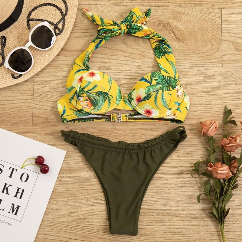New ladies split printed underwire bikini swimsuit womens swimwear wholesales fashion NHHL200011