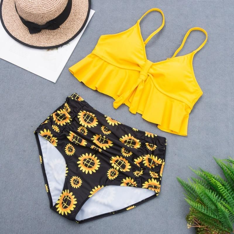 New printed high waist bikini swimsuit sexy flashing plus size split swimsuit NHHL200027