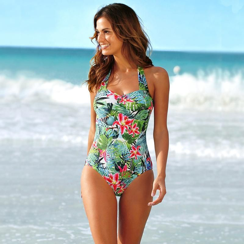New fat woman Jiaoyan one-piece swimsuit XL flower and bird print swimsuit women NHHL200032