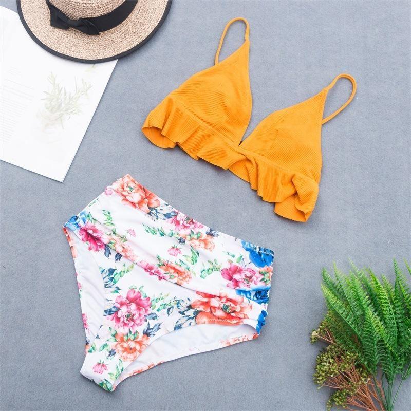 New printed large size bikini swimsuit sexy flashing high waist split  swimsuit NHHL200033