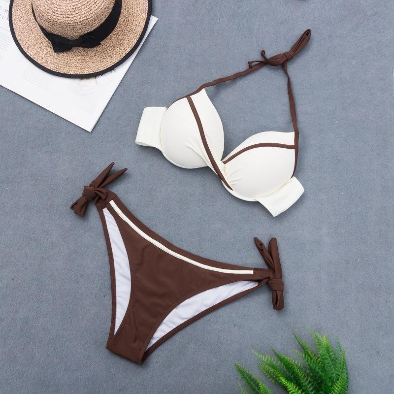 New gathered split bikini swimsuit sexy color matching large size swimwear NHHL200034