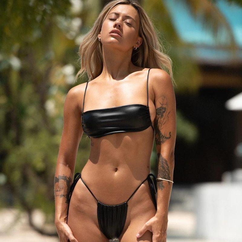 New ladies swimwear popular split bikini plain cloth solid color swimwear NHHL200040