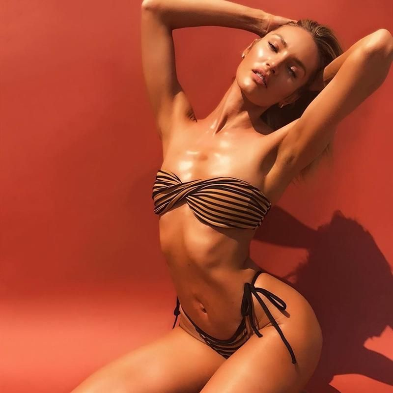 New split swimwear explosion style striped printed bikini sexy swimsuit NHHL200052