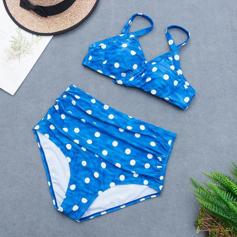 New large size split bikini swimsuit sexy wave point high waist female swimsuit NHHL200058