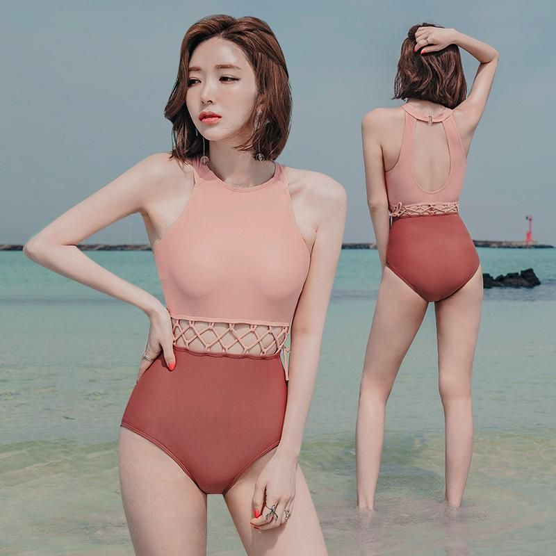 New one-piece sexy covered belly conservative spa swimsuit wholesales fashion NHHL200064
