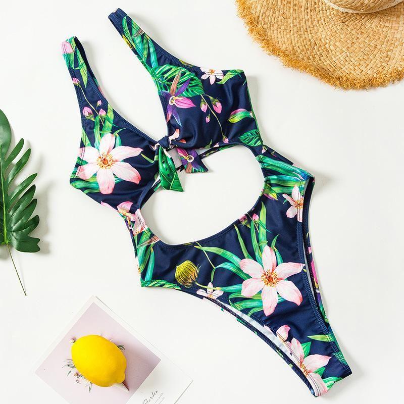 New Monokini Swimsuit All-In-One European and American Flower Print Chest Knot Bikini NHHL200074
