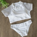 New hot sale ladies split small sleeves cutout strapless round neck solid color bikini swimsuit NHHL200083