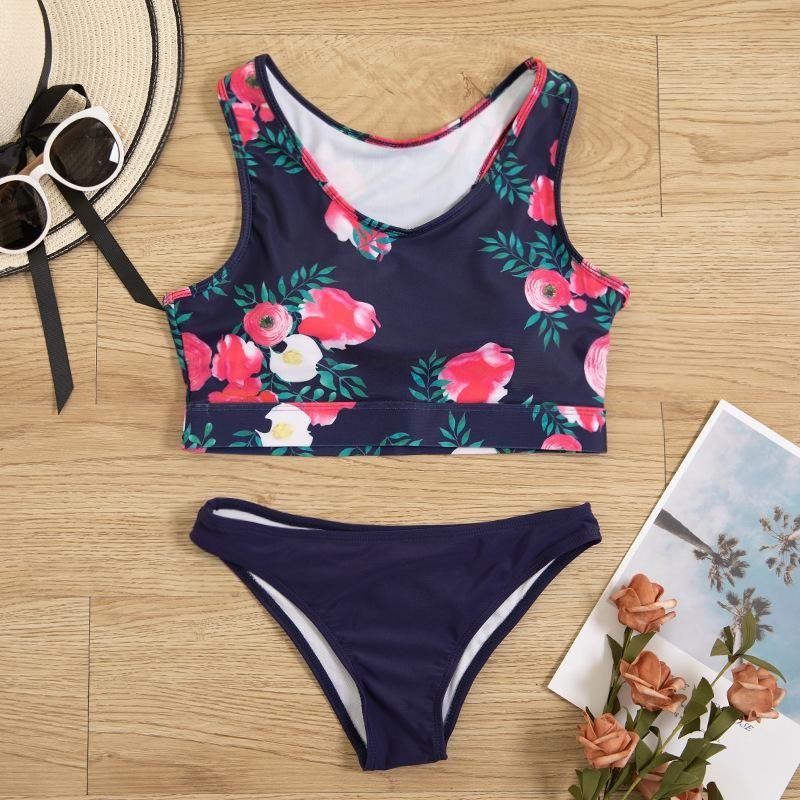 New split triangle printed skinny bellyband sexy thin bikini swimsuit NHHL200086