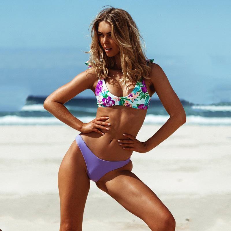 New Ladies Split Print Lace Up Bikini Bikini NHHL200090
