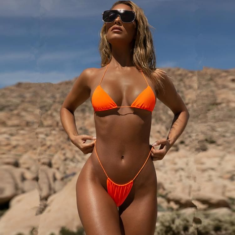 New Explosion Style Solid Color Split Swimsuit Ms. Sexy Multicolor Swimsuit NHHL200104